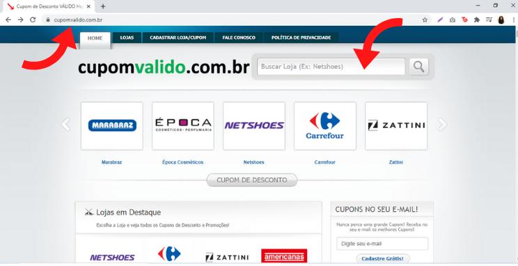Foto da página inicial do site Cupom Válido.