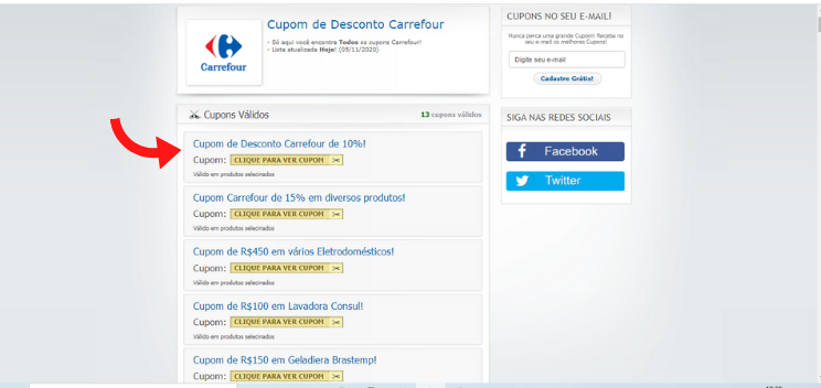 Carrefour na página do cupom válido.