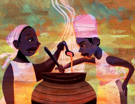 Uma charge animada, com duas mulheres negras com colheres na mão, preparando um caldo dentro de um caldeirão.
